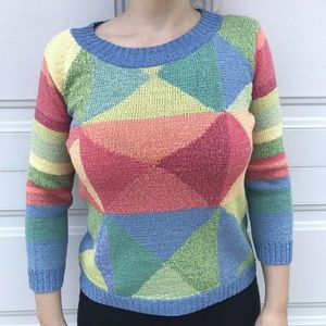 Talbots Geometric Colorful Sweater cotton blend